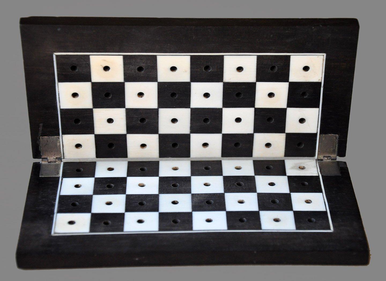 Antique Folding Ebony Travel Chessboard