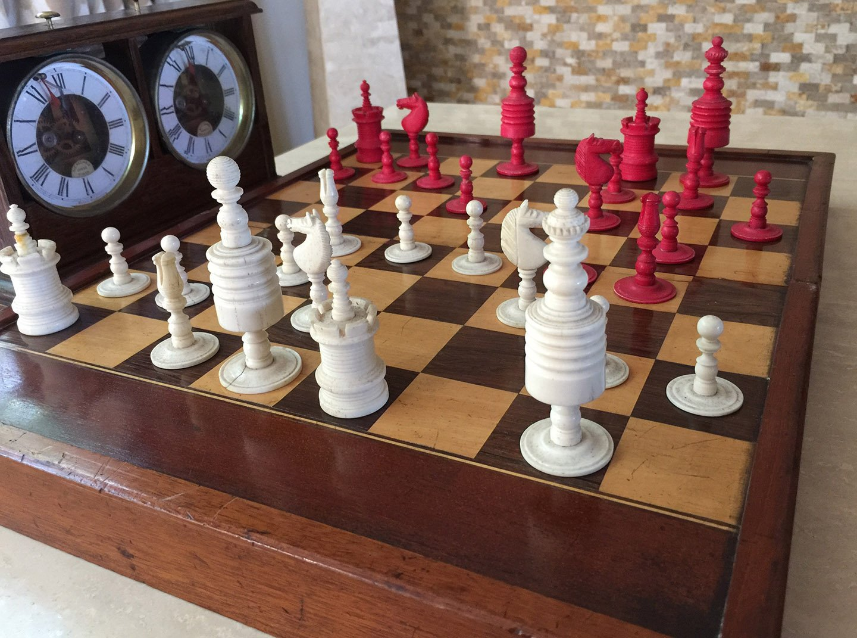 Paul Morphy Type II Barleycorn Chessmen