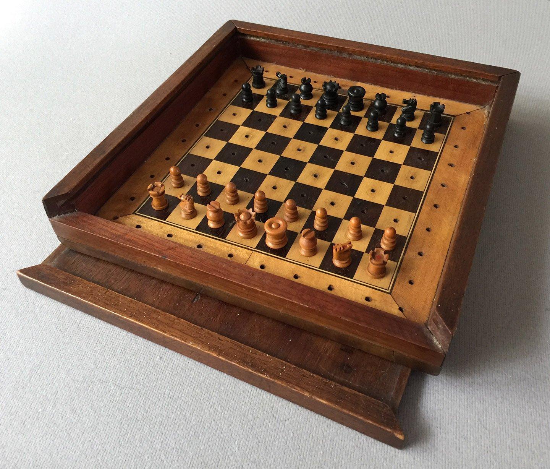 Victorian Railway Travel Chess Set