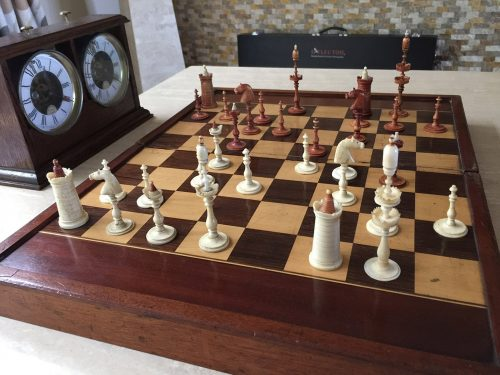 Antique Selenus Bone Chess Pieces