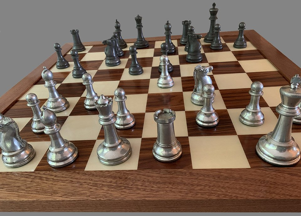 Plated Metal Staunton Chess