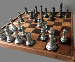 Plated Metal Staunton Chess Pieces