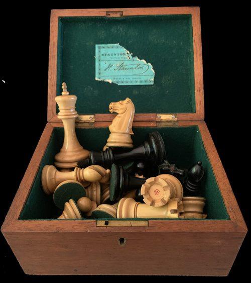Antique Jaques Lasker Chessmen Small Club Size