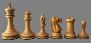 Reproduction Lasker Style Staunton Chessmen, Small Club.