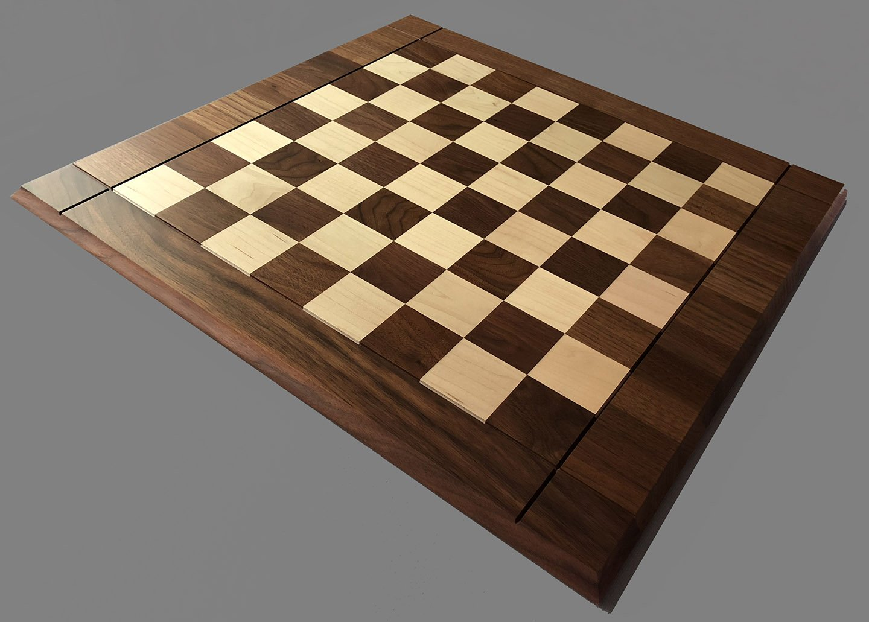 "Hard Maple and American Walnut Drueke Chessboard, 2-1/4"" Squares"