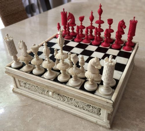 Antique German Miniature Bone Chess Set
