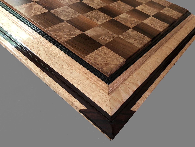 Walnut and Maple Burl Signature Chessboard