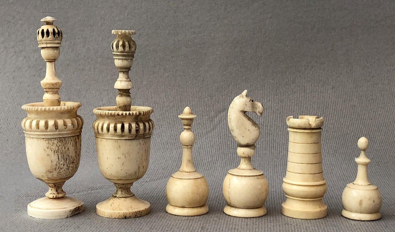 Antique French Lyon Bone Chessmen