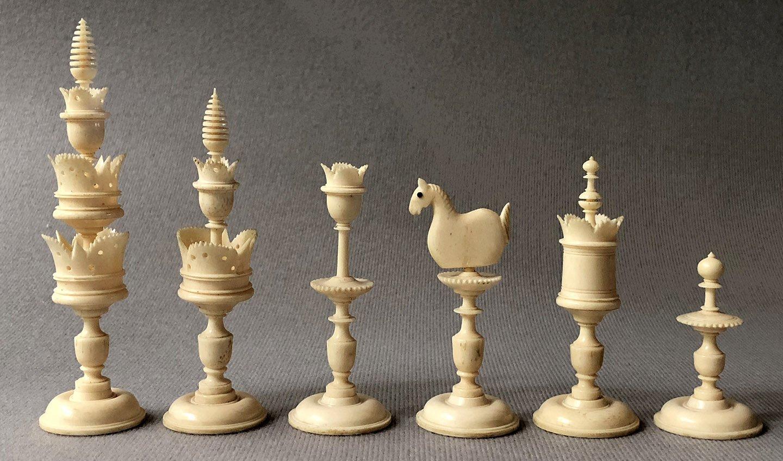 Antique Selenus Bone Chessmen