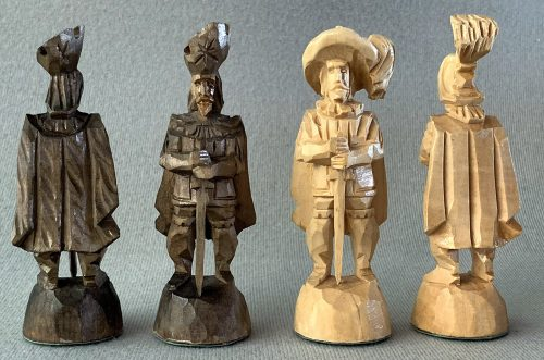 Austrian Tyrol Hand-Carved Chessmen in Fitted Case