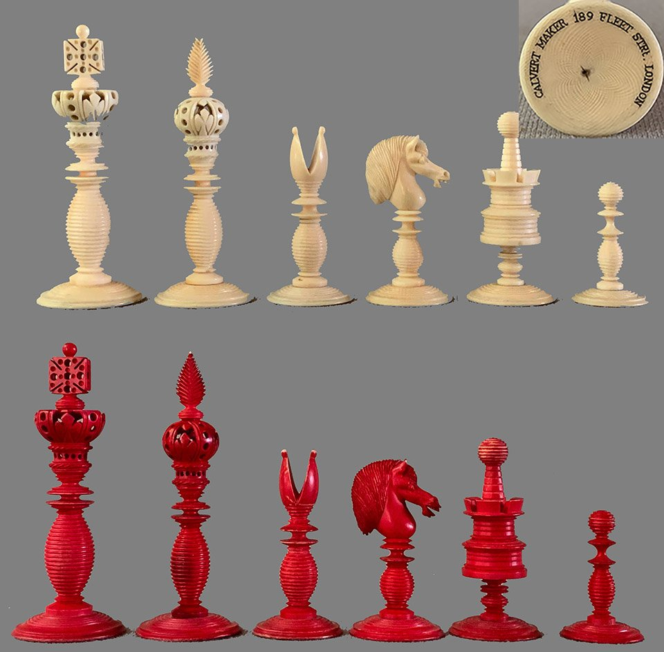 Antique Lund Open Crownwork Chessmen