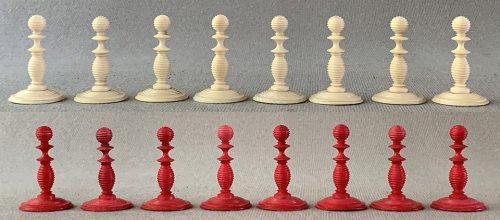 Antique Lund Open Crownwork Chessmen