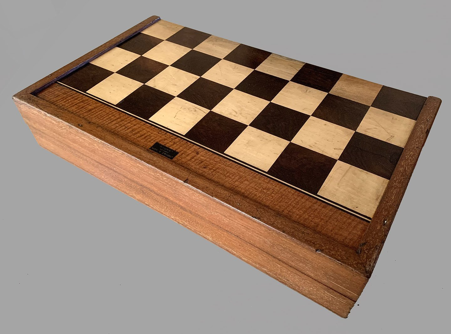 Antique Jaques Folding Chessboard with Backgammon