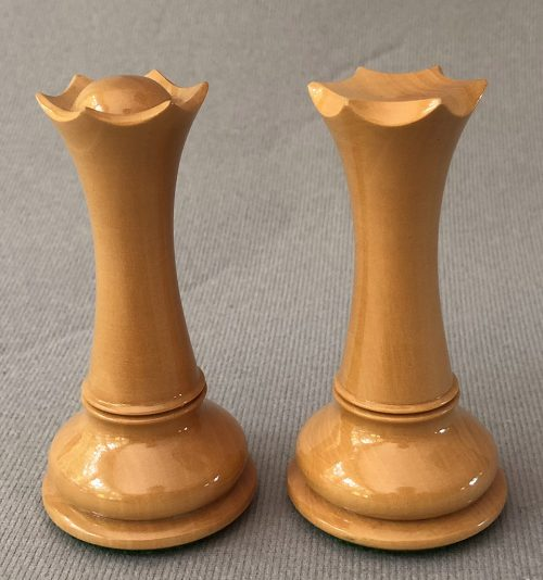 Empire Modern Staunton Chessmen, Antiqued and Black Lacquered Boxwood