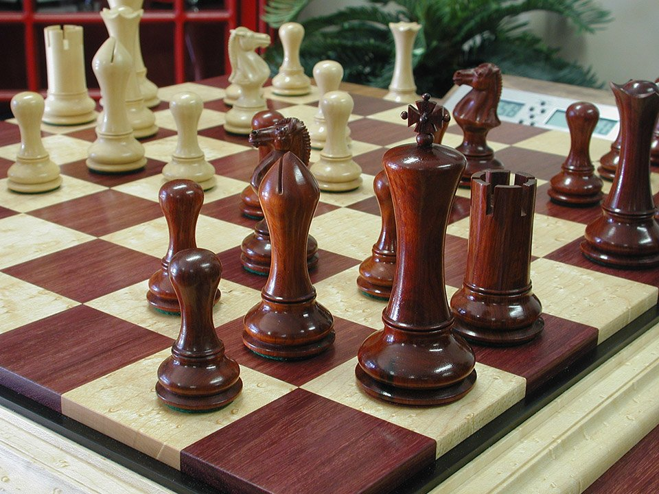 Boxwood and Blood Rosewood Empire Modern Staunton Chessmen