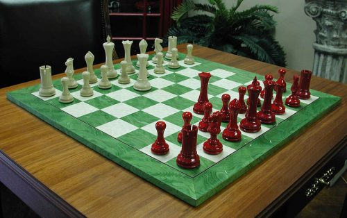 Empire Modern Staunton Chessmen, Ivory and Red Lacquer