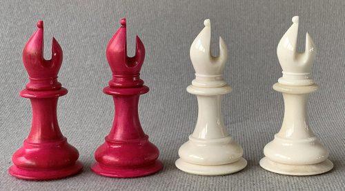 Staunton Bone Sinquefield Cup Natural and Red Chessmen
