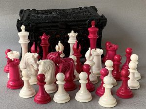 Staunton Bone Sinquefield Cup Natural and Red Chessmen