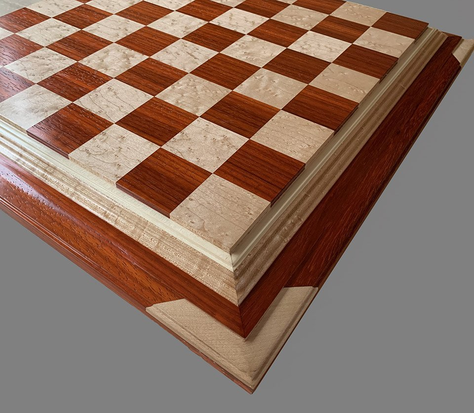 Birdseye Maple and Padauk Premium Chessboard