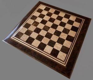 Birdseye Maple and Walnut Burl Premium Chessboard