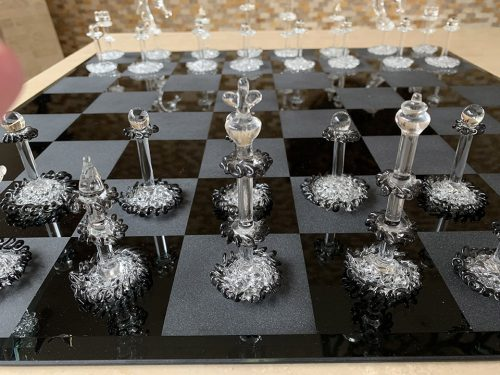 A Set of Grappa Murano Crystal Chess Pieces