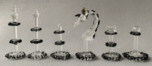 A Set of Abstract Crystal Glass Chess Pieces