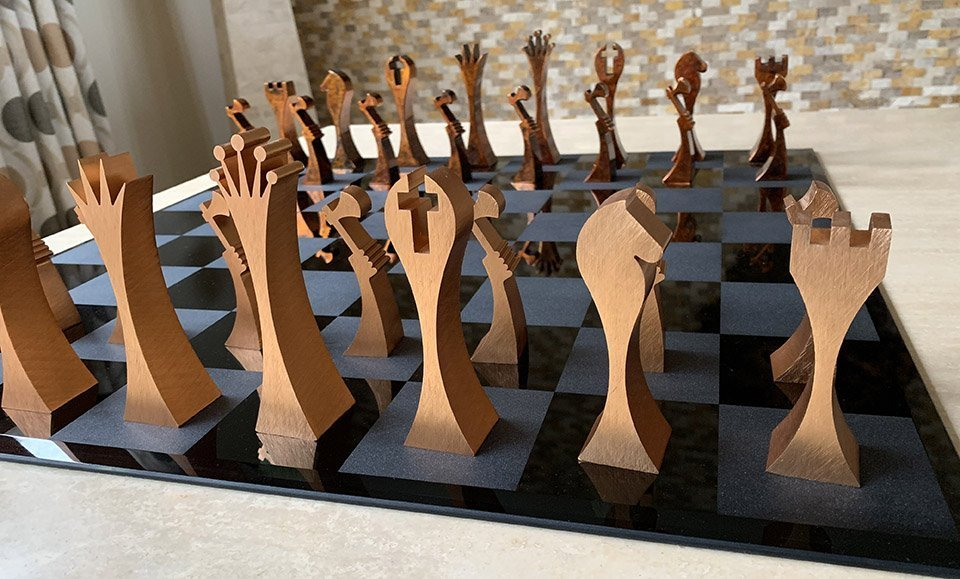 ICE Abstract Copper Chess Pieces
