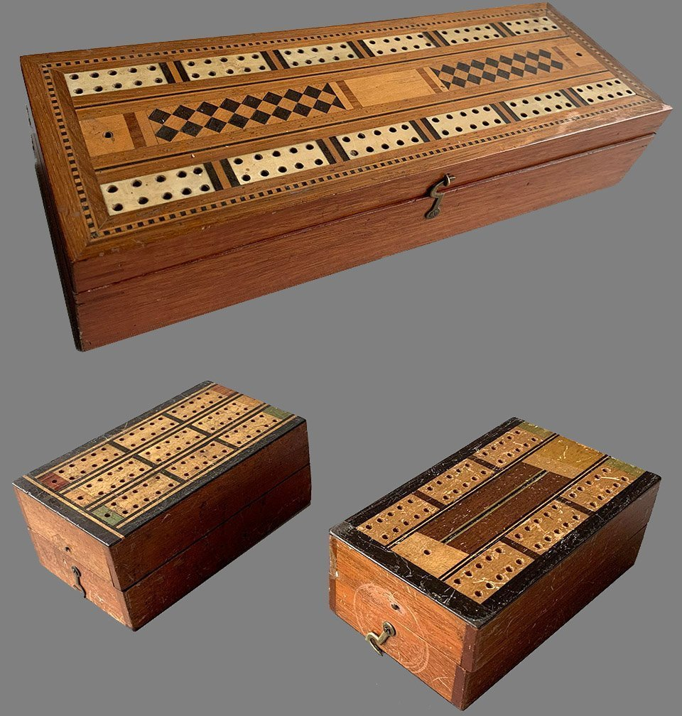 Three Antique Cribbage Board Boxes