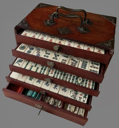 Vintage Cased Mahjong Set with Drawers