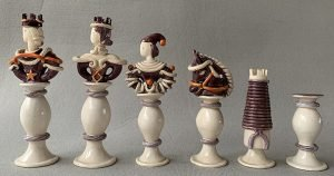 French Figural Ceramic Chessmen. David Haffler Collection