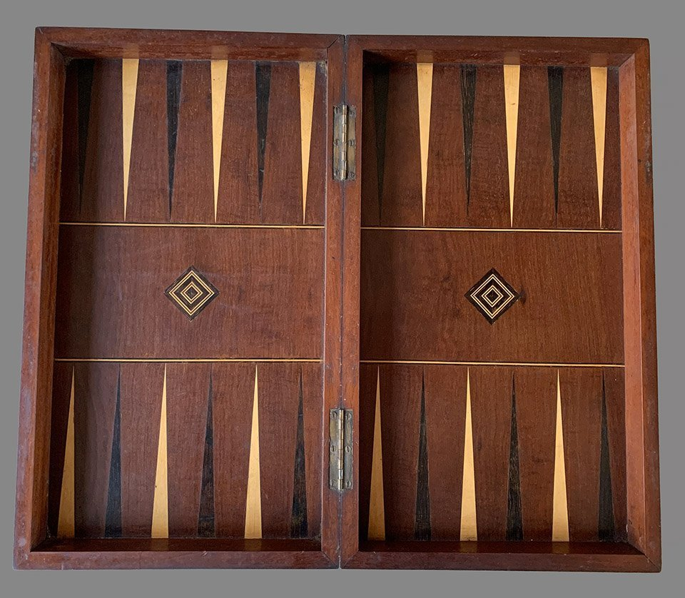Victorian Folding Chess Backgammon Board Box