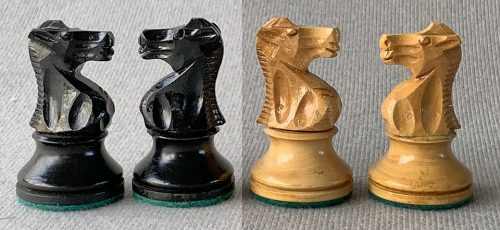 French Lardy Library Chessmen and Chad Valley Chessboard