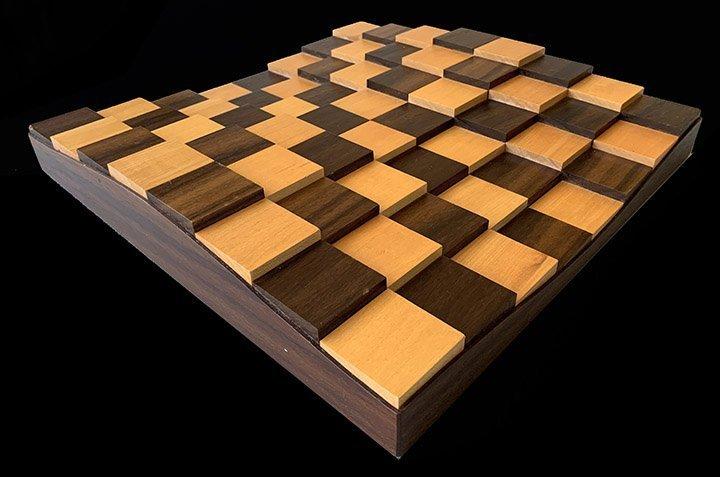 Three Dimensional Contemporary Chessboard in American Black Walnut