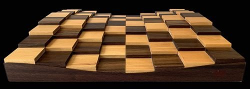 Three Dimensional Contemporary Chessboard in American Black Walnut
