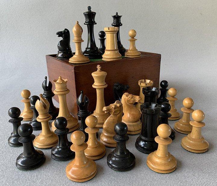 Jaques Anderssen Staunton Chessmen, Tournament Size, Circa 1860
