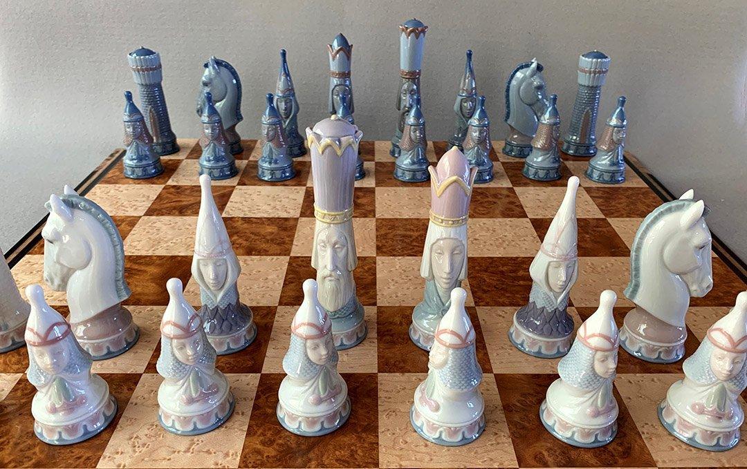 Lladro Medieval Porcelain Chessmen