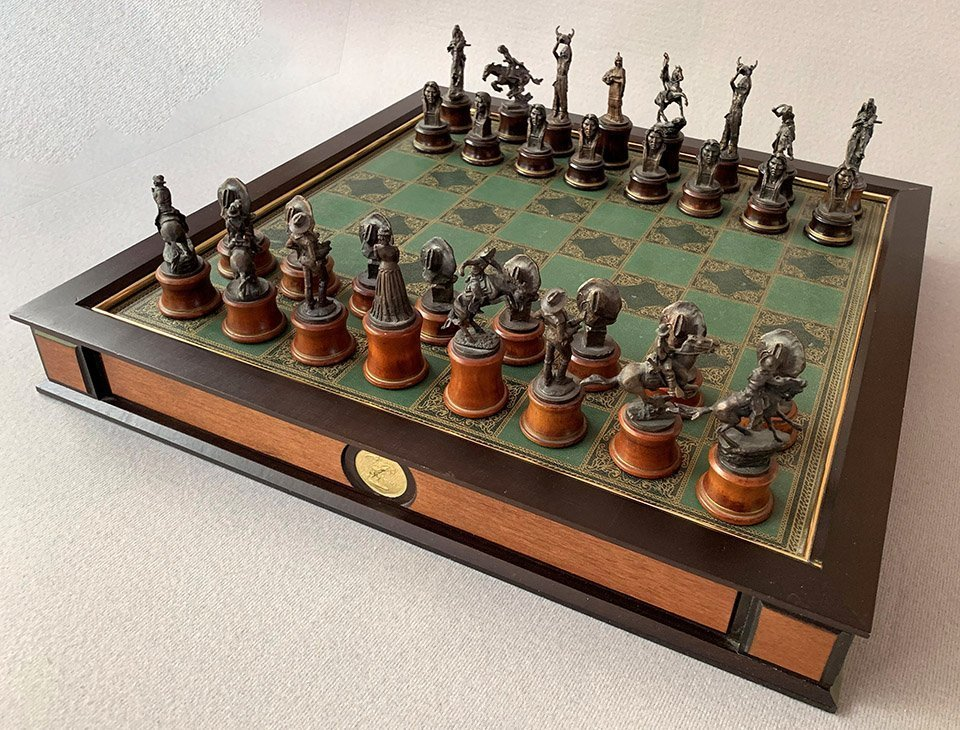 Frederic Remington Bronze Chess Set by The Franklin Mint