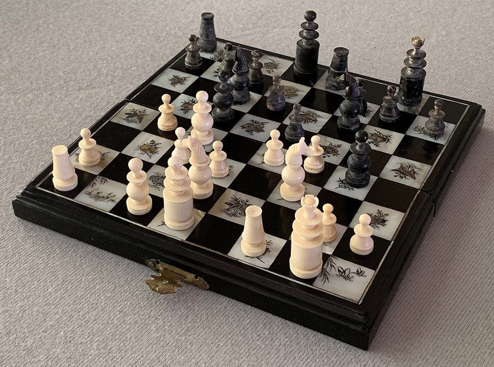Mother of Pearl and Buffalo Horn Miniature Chess Set