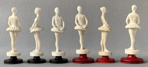 Ballerina Mammoth Ivory Chess Pieces by Oleg Raikis.