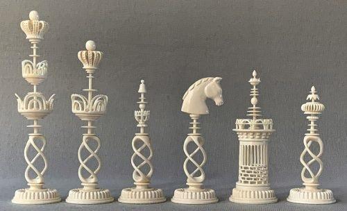 Elegant Danish Selenus Spiral Chessmen by Oleg Raikis
