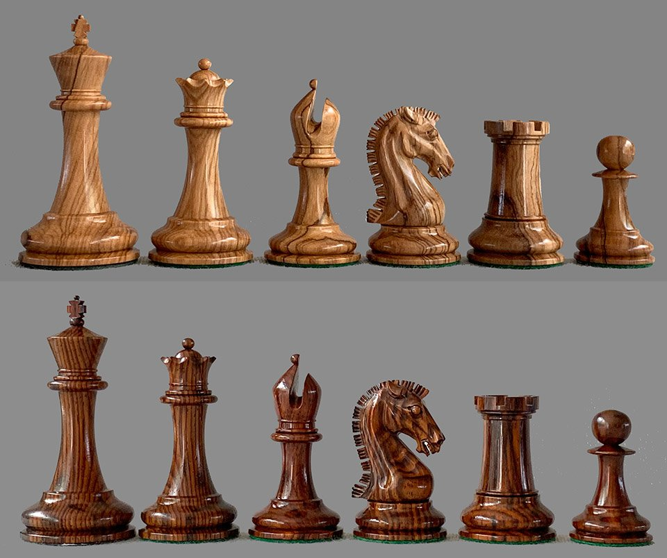 Camaratta Cooke Staunton Chessmen in Olivewood and Cocobolo