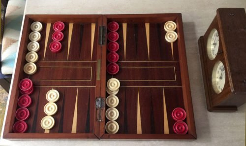 Antique Bone Backgammon Checkers
