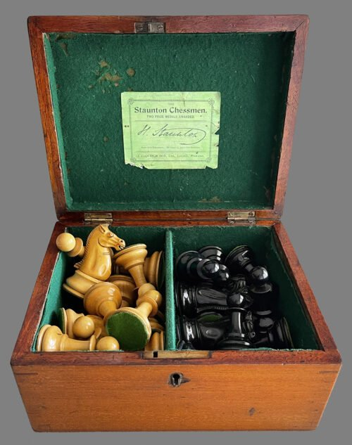 Antique Jaques Marshall Chessmen, Small Club Size
