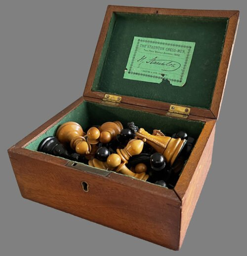 weighted Jaques Steinitz Chessmen, Tournament Size. Circa 1865